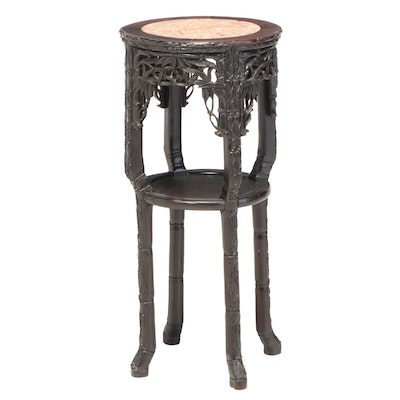 Chinese Inspired Ebonized Wood Marble Top Plant Stand, Late 20th Century