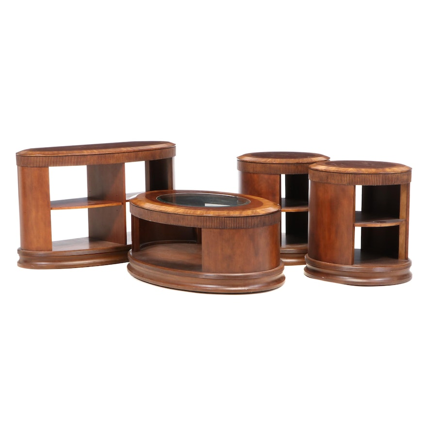 Contemporary Walnut Finish Console Cabinet, Coffee Table and Side Tables