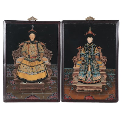 Chinese Reverse Glass Portraits of an Emperor and Empress