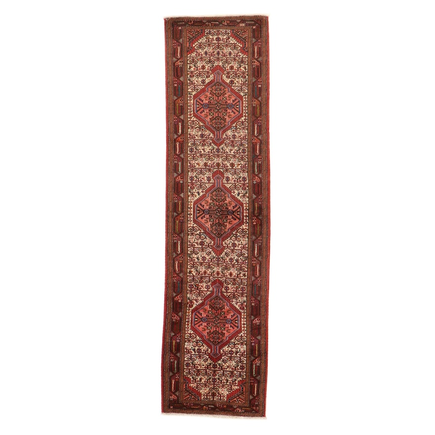2'8 x 10'4 Hand-Knotted Persian Malayer Carpet Runner, 1970s