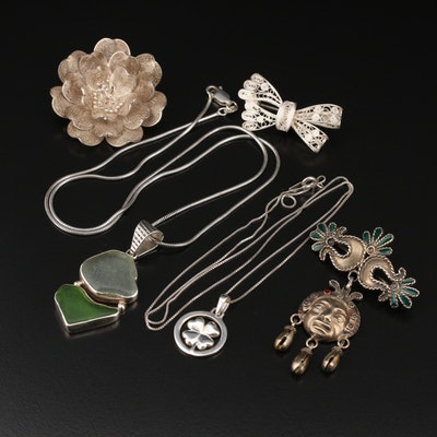 800, 900 and Sterling Silver Brooches and Necklaces