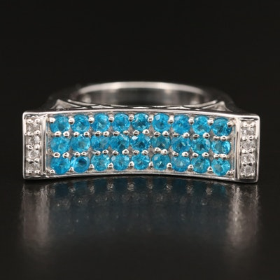 Sterling Apatite and White Topaz Saddle Ring