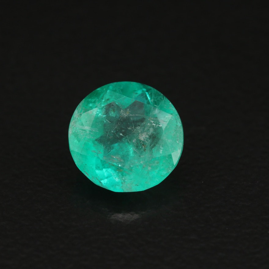 Loose 1.42 CT Round Faceted Emerald
