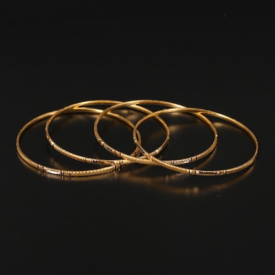 18K Diamond Cut Bangles