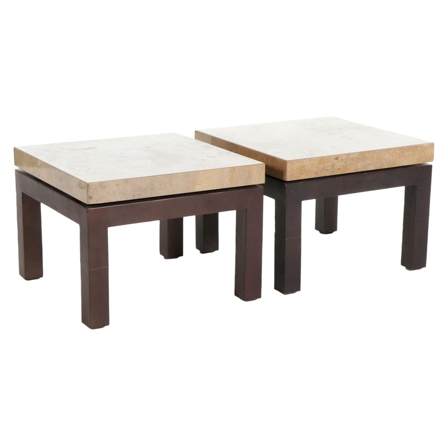 Contemporary Side Tables with Granite Tops, 21st Century