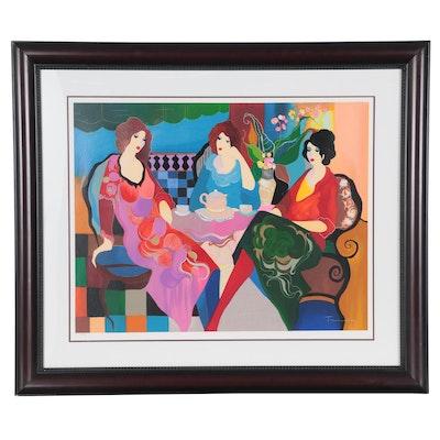 """Itzchak Tarkay Serigraph """"Three Ladies at Tea II,"""" 2004"""