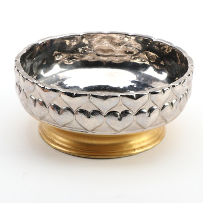 Christian Dior Italian Faïence Metallic Heart Bowl, Mid to Late 20th Century