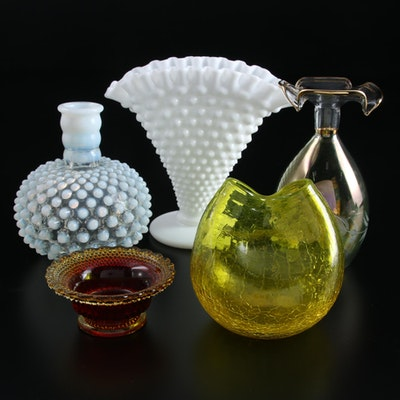 Hobnail Milk Glass Fan Vase and Other Glass Vases