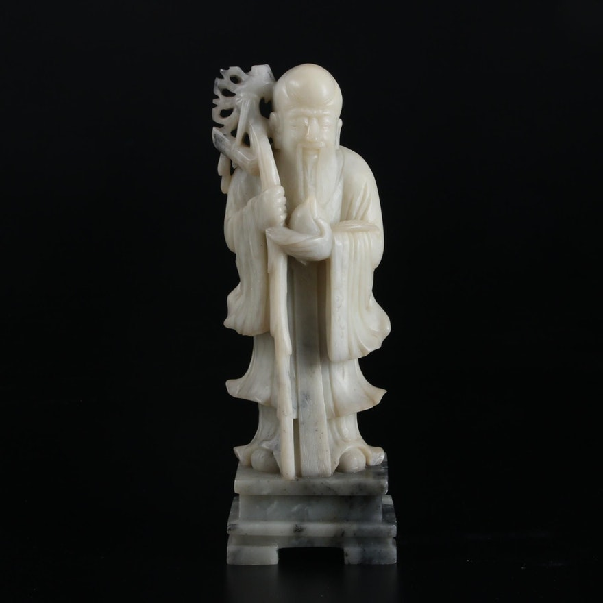 White Soapstone Carved Chinese Immortal Shouxing, God of Wisdom, 20th Century