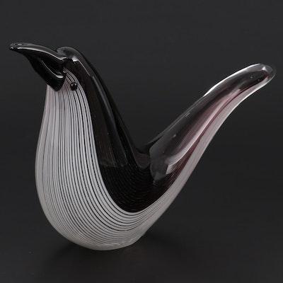 Murano Style Blown Art Glass Bird Figurine