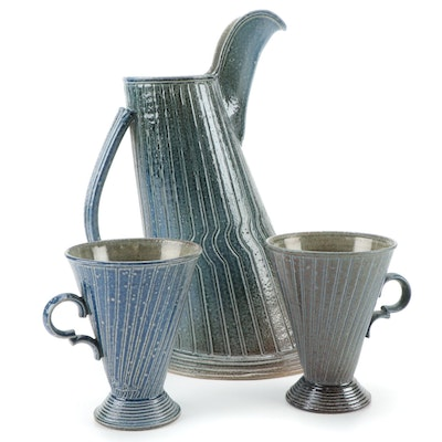 Jon Faulkner Gallery Ceramic Pitcher and Cone-Shaped Mugs