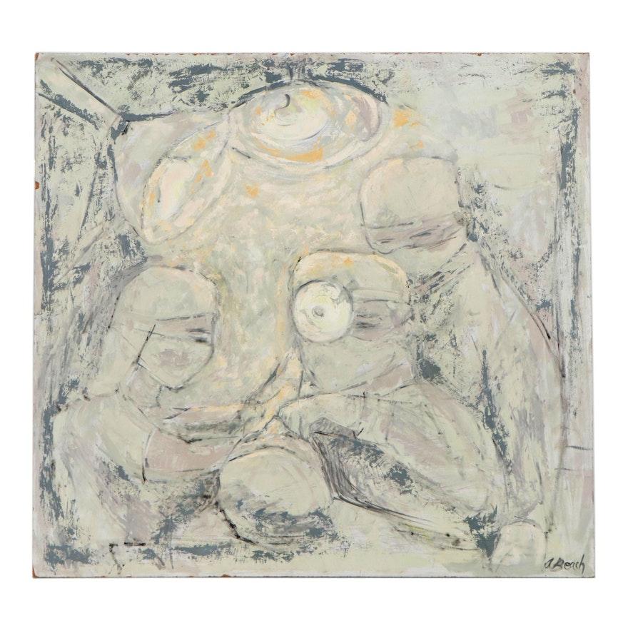 Anita Robertson Beach Abstract Oil Painting, circa 2000