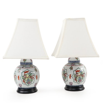 Chinese Famille Rose Ginger Jar Table Lamps, Late 20th Century