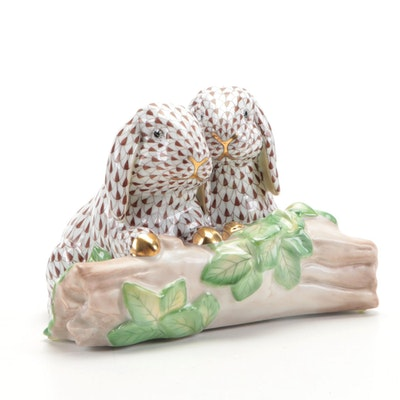 """Herend Chocolate Fishnet with Gold """"Bunny Love"""" Porcelain Figurine"""