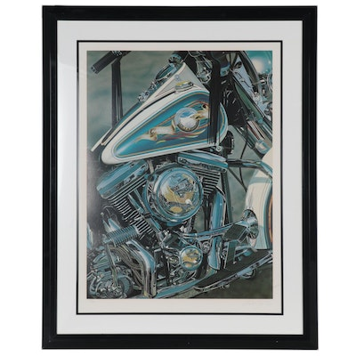Scott Jacob Mixed Media Serigraph of Harley Davidson Motorcycle