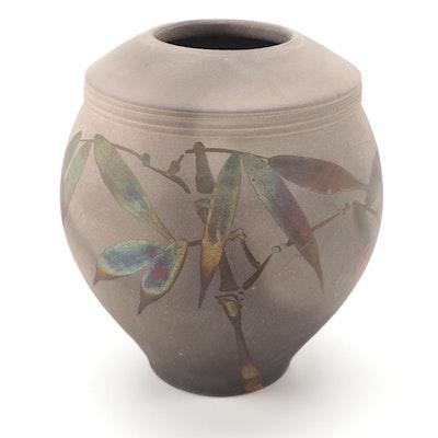 Artist Signed Raku Ware Vase with Bamboo Motif