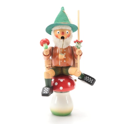 Steinbach Style Mushroom Rider Smoker Musical Toadstool