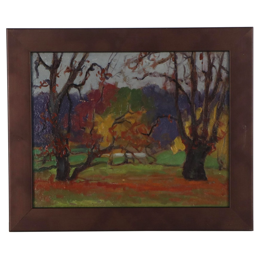 Robert H. Whitmore Autumnal Landscape Oil Painting