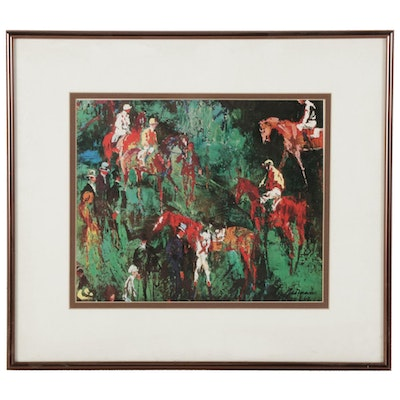 Offset Lithograph after LeRoy Neiman of Horses and Jockeys