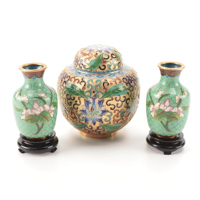 Chinese Champleve Ginger Jar with Miniature Bud Vases on Stands