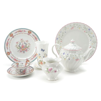 "Aynsley ""Cottage Garden"" Bone China Vase and Sweet Dish with Other Dinnerware"