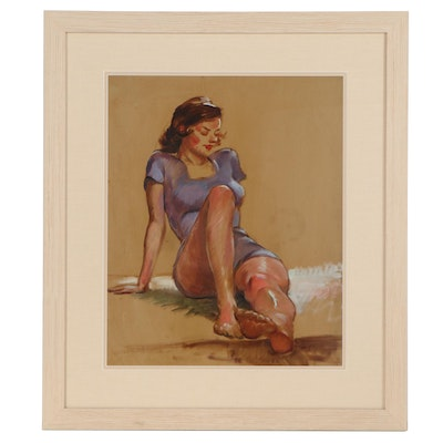 "Robert Whitmore Oil Painting ""Lady Sitting on Grass"""