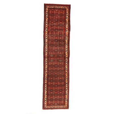 3'5 x 14' Hand-Knotteed Persian Malayer Carpet Runner, 1970s
