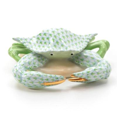 """Herend Key Lime Fishnet """"Crab"""" Porcelain Figurine"""