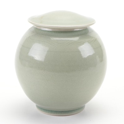 Gary Kelsey Crackle Celadon Glazed Stoneware Lidded Vessel