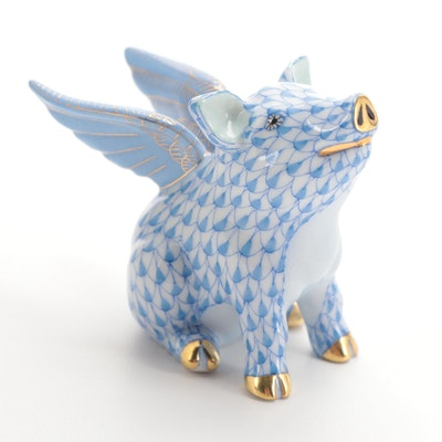 "Herend Blue Fishnet ""When Pigs Fly"" Porcelain Figurine"