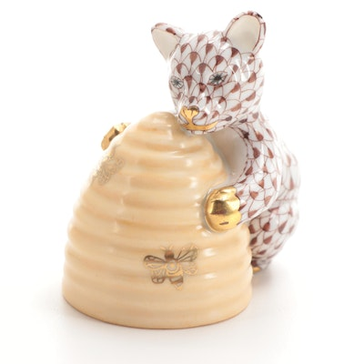 """Herend Chocolate Fishnet """"Bear with Beehive"""" Porcelain Figurine"""