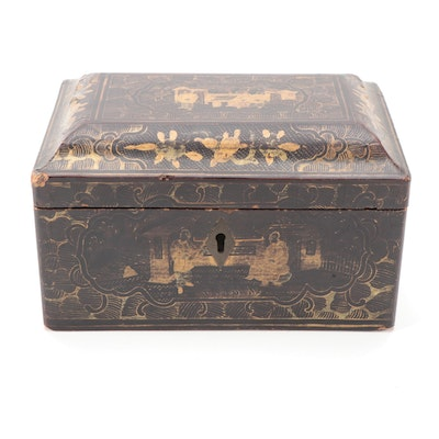 Chinese Export Black and Gold Lacquerware Tea Caddy,  Early to Mid 19th Century