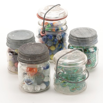 Swirl, Opaque, Glass Playing Marbles in Ball, Wheaton and Other Glass Jars