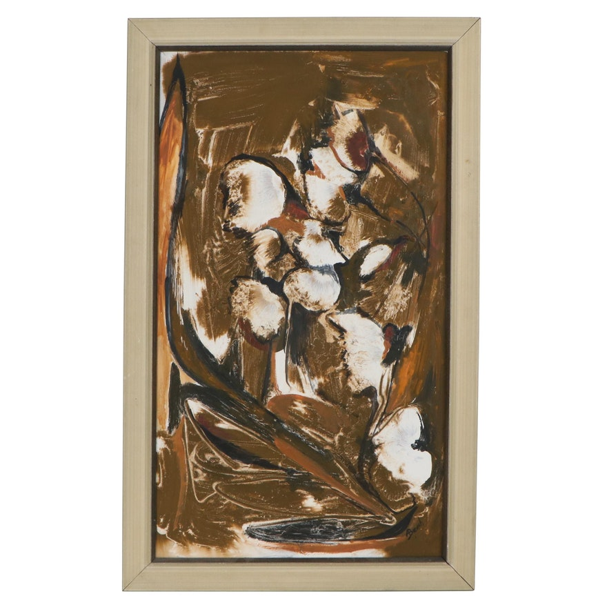 Anita Robertson Beach Abstract Oil Painting, 1967