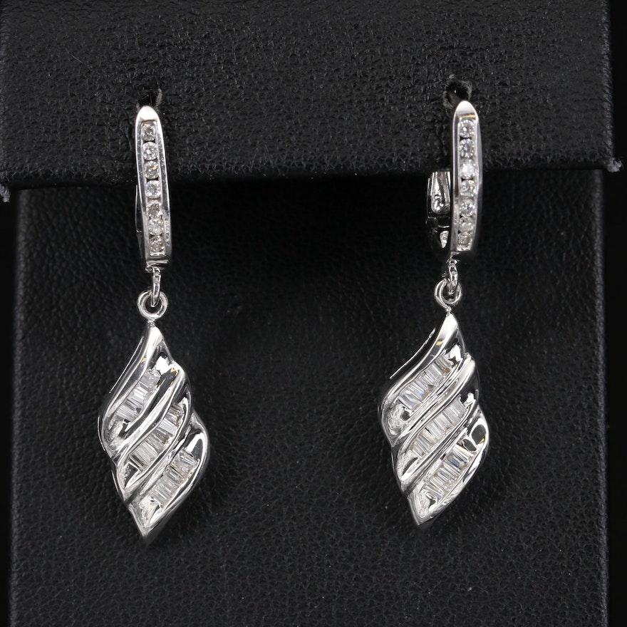 14K Diamond Wave Earrings