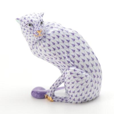 "Herend Lavender Fishnet with Gold ""Cheetah"" Porcelain Figurine"
