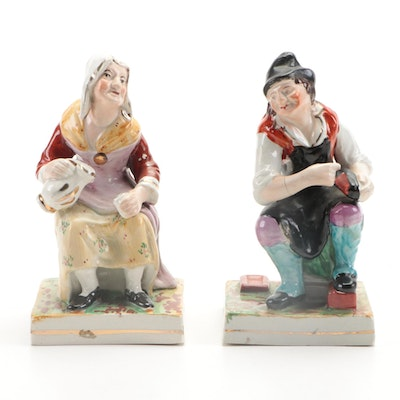 Staffordshire The Cobbler Jacobson and His Wife Nell Ceramic Figurines, Antique