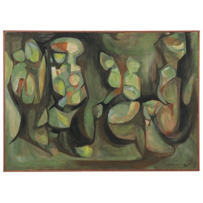 Anita Robertson Beach Abstract Oil Painting, Late 20th Century