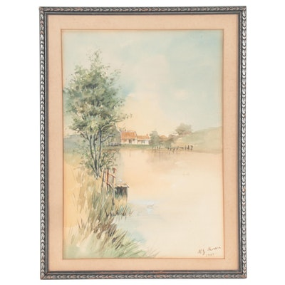 Landscape Watercolor Painting of Scenic Lake, 1917