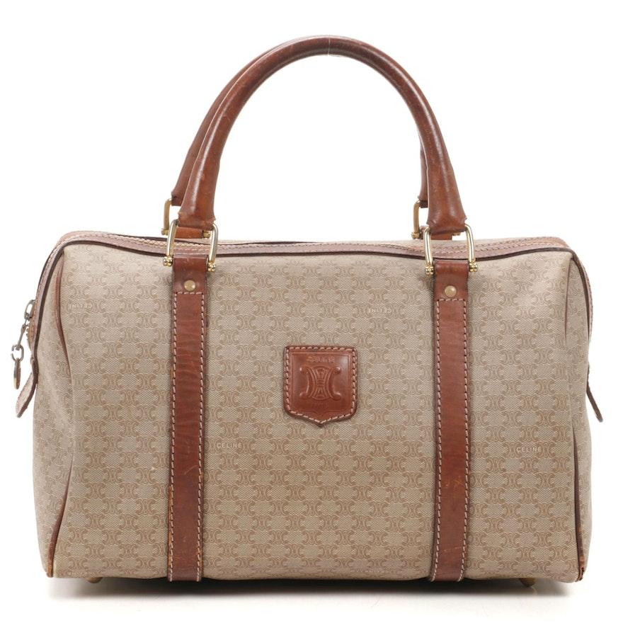 CELINE Boston Bag in Macadam Mini Coated Canvas and Leather