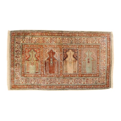 2'0 x 3'7 Hand-Knotted Turkish Village Silk Blend Rug, 1950s