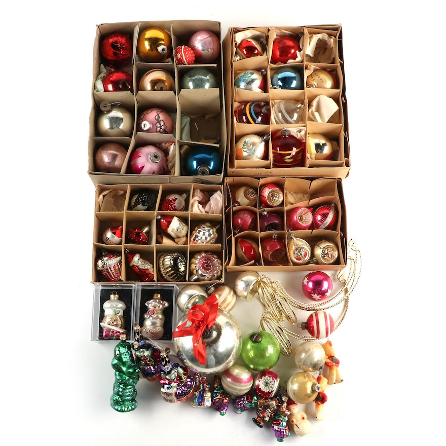 Radko, Shiny Bright, Wax and Kugel Style Glass Ornaments with Stands