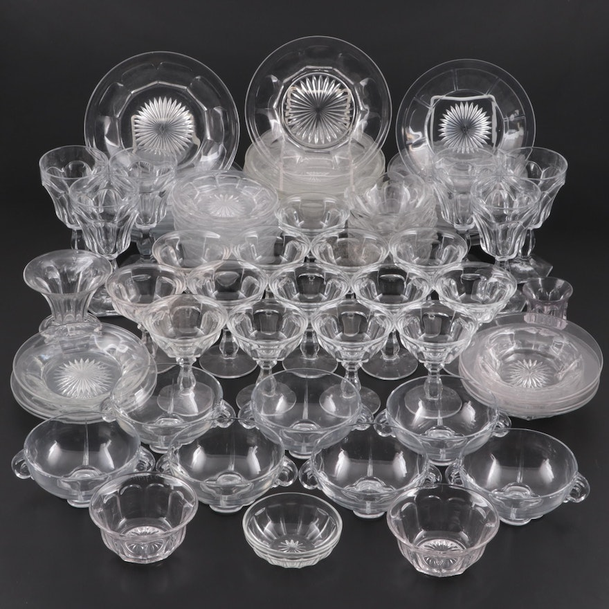 """Heisey """"Colonial"""" and """"Priscilla"""" Pressed Glass Tableware , Early to Mid-20th C."""