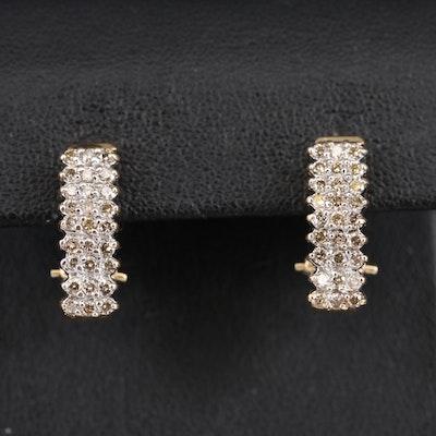 14K Diamond Multi-Row J-Hoop Earrings