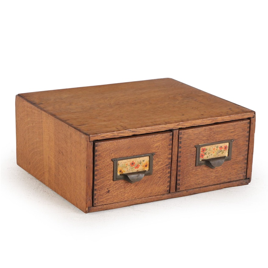American Quartersawn Oak Two-Drawer Card File, Early 20th Century