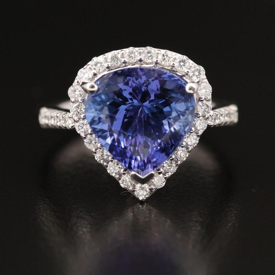 18K 4.80 CT Tanzanite and Diamond Halo Ring