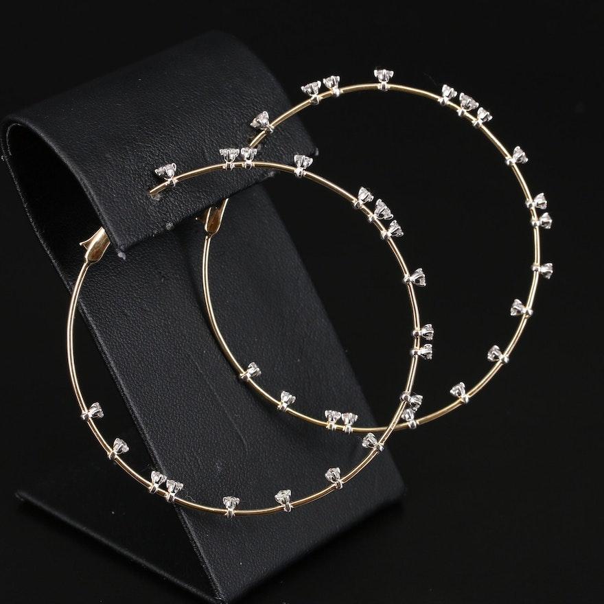 14K 1.90 CTW Diamond Inside-Out Hoop Earrings