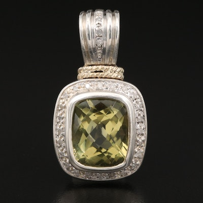 Sterling Citrine and Diamond Halo Pendant with 14K Accent