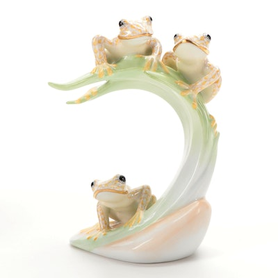 "Herend Golden Anniversary Fishnet ""Frogs on Leaf"" Porcelain Figurine, 2007"