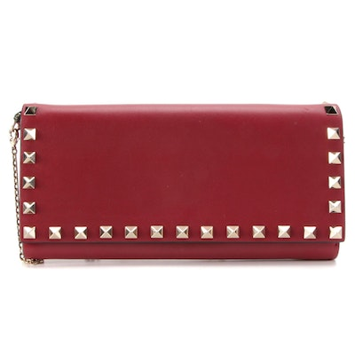 Valentino Rockstud Wallet on Chain in Red Smooth Leather